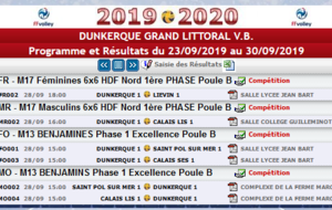 Calendrier weekend du 28-29 Septembre 2019